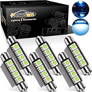 Partsam 6pcs Ice Blue 41mm 42mm Festoon 4-5050-SMD LED Light Interior Dome Map Trunk Cargo Footwell Replacement Bulb Lamp 12V 561 562 578 211-2