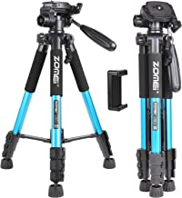 """ZOMEI 55"""" Lightweight Compact Travel Portable Camera Tripod for Canon Nikon Sony DSLR Camera Video with Carrying Bag(Blue)"""