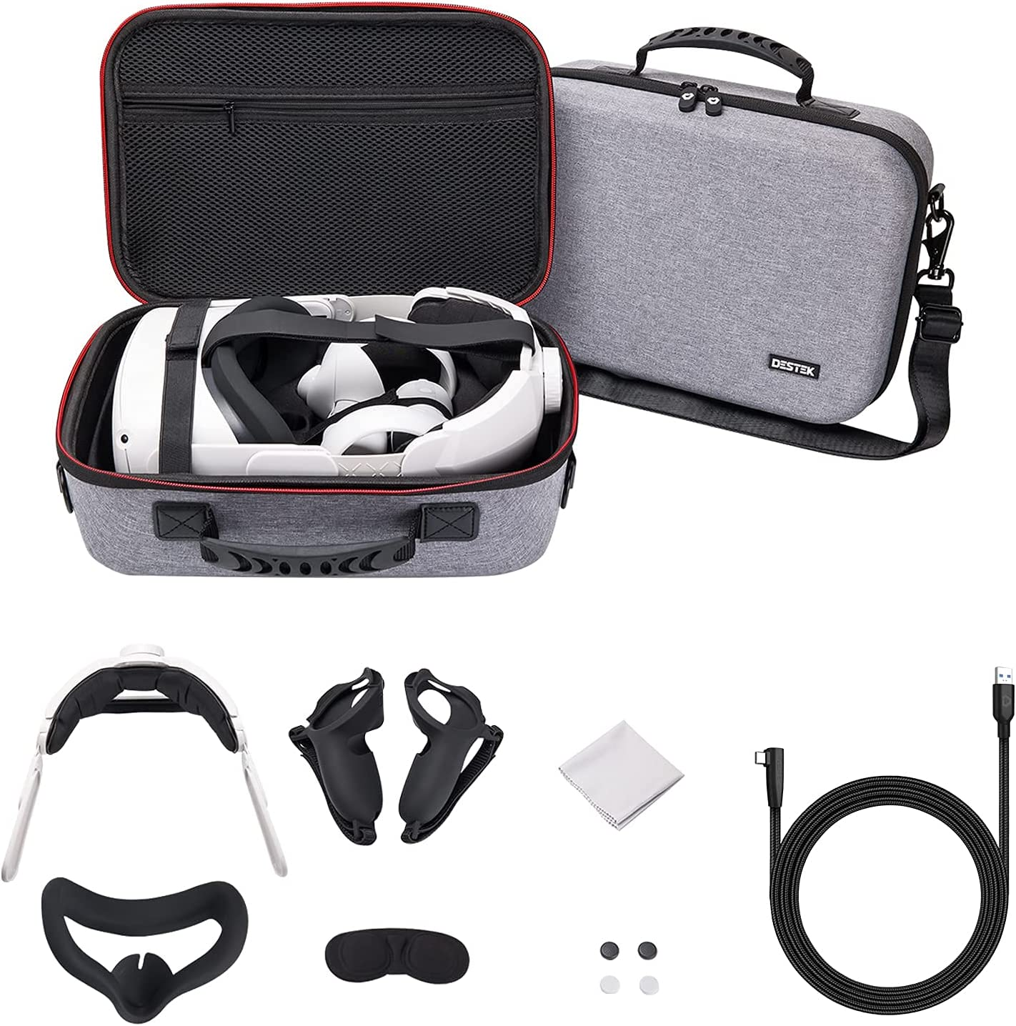 DESTEK All in One Oculus Quest 2 Travel Case Accessories Set and 16FT Oculus Link Cable - 8PCS