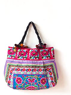 Changnoi Hill Tribe Tote Bag Hmong Embroidered Fabric Large Size Thai Fair Trade