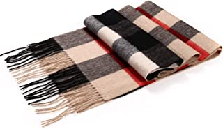 100% Pure Merino Lambswool Plaid Scarf for Women - Soft Wool Fashion Long Winter Warm Scarf with Gift Box