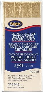 Wrights 117-216-046 Double Fold Lame Bias Tape, Gold, 3-Yard