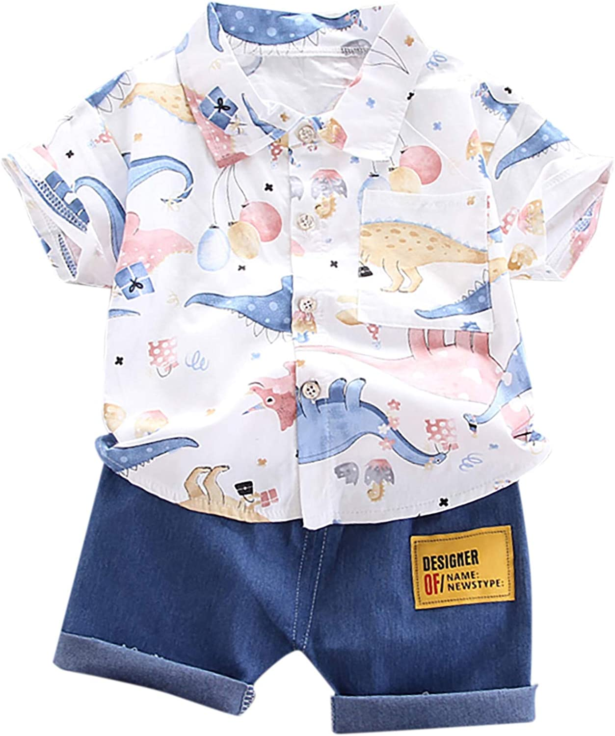 Baby Kids Summer Outfits,1-4Years Infant Baby Boys Clothes Set Cartoon T-Shirt Tops+Shorts Summer Outfits