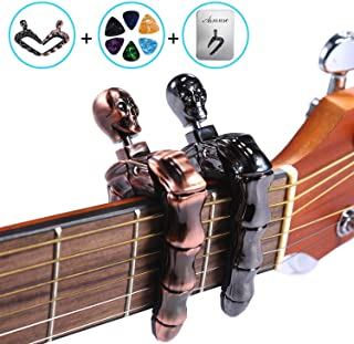 Asmuse Guitar Capo Skull Knob Design for for Electric Classical Acoustic Guitar Bass Ukulele Mandolin Banjo 2 Packs with 6 Plectrums and Metal Box(2 PackBronze&Metallic)