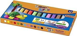 BIC Kinderklei, verschillende kleuren, 12 stuks, herbruikbare knutselklei, plasticine voor kinderen vanaf 1 jaar, Europese...