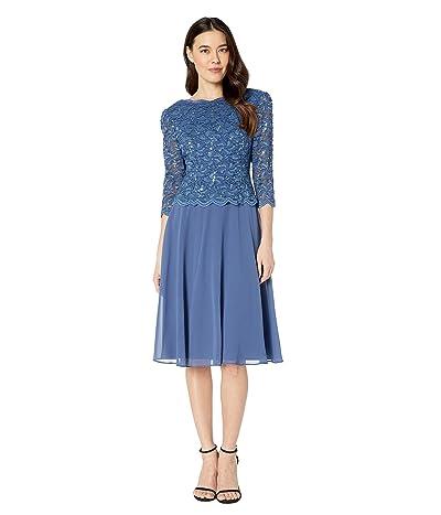 Alex Evenings Petite Tea Length Sequin Lace Mock Dress (Wedgewood) Women