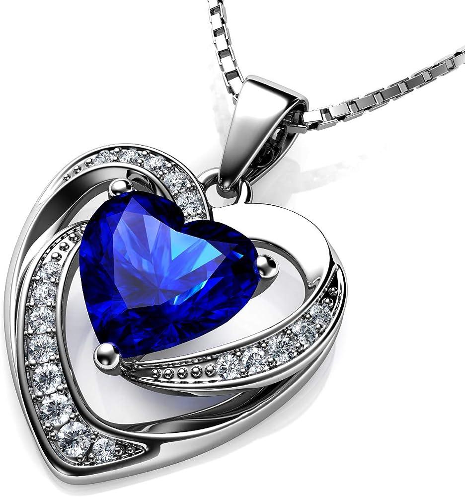 dephini blu collana argento 925 ciondolo a forma di cuore con zirconi bianchi e blu