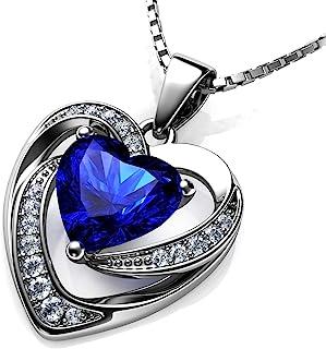 DEPHINI - Blauwe hartketting - 925 zilveren harthanger met witte CZ & blauwe geboortesteen verfraaid met merkkristal voor ...