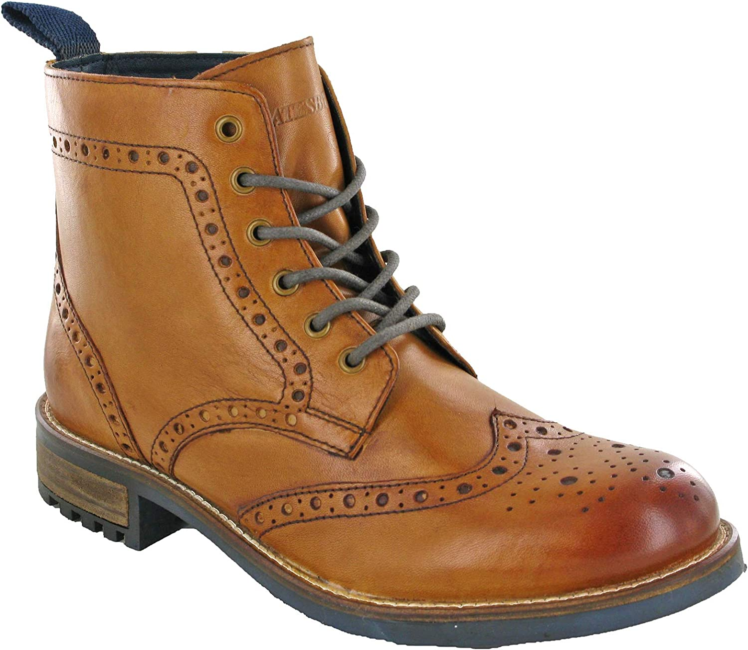 Derby Brogue Leather Boots Mens Classic Ankle Padded UK 7-12