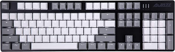 Ajazz AK50 Mechanical Gaming Keyboard - PBT Keycaps - Grey-White Matching - White Backlit - Black Switches - Black