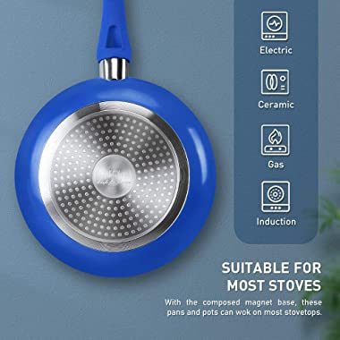 FGY 5 Pieces Non-stick Pots Pans Ceramic Coating Cookware Set with Induction Bottom, Perfect for Cooking & Colorful Pan P