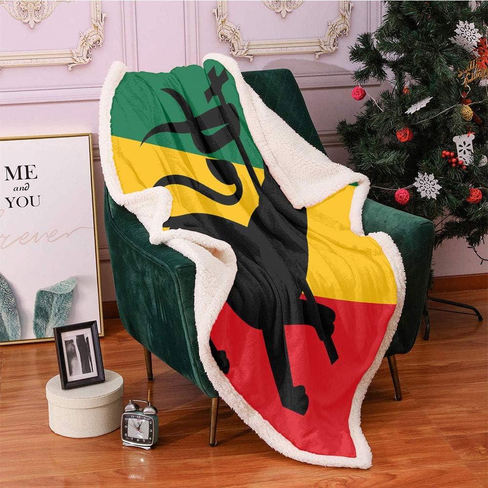 SeptSonne Rasta Fleece Throw Blanket Max 82% OFF Rastafarian Judah with Flag Sales of SALE items from new works