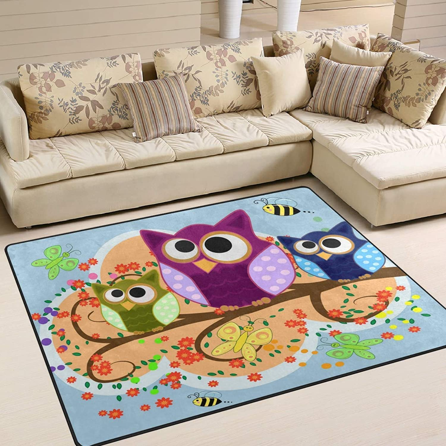 Happy Family of Owls Bird Butterfly Bee Flower Area Rug Floor Mat Rug Indoor Front Door Kitchen and Living Room Bedroom Mats Rubber Non Slip