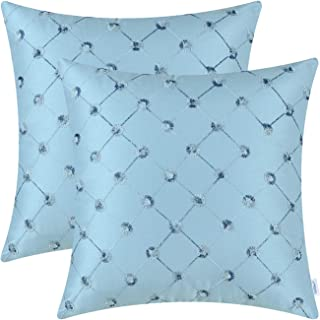 CaliTime Pack of 2 Cushion Covers Throw Pillow Cases Shells for Sofa Couch Home Decoration 18 X 18 Inches Modern Diamonds Shape Geometric Chain Embroidered Light Blue