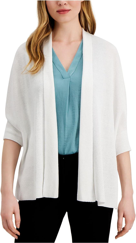 Alfani Womens White Solid 3/4 Sleeve Open Cardigan Sweater Size XS