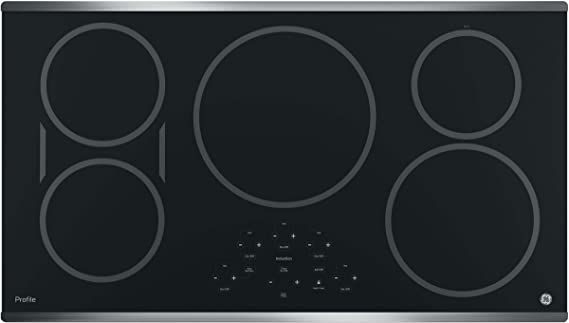 GE PHP9036SJSS 36 Inch Cooktop with 5 Induction, 3,700-Watt Element, Pan Size Sensors, SyncBurners, Red LED Display, Kitchen Timer, ADA Compliant Fits Guarantee