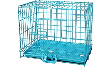 RvPaws Dog Cage Easy to Move with Removable Tray Iron Cage Powder Coated for Dog & Rabbit 18 Inch Sky Blue
