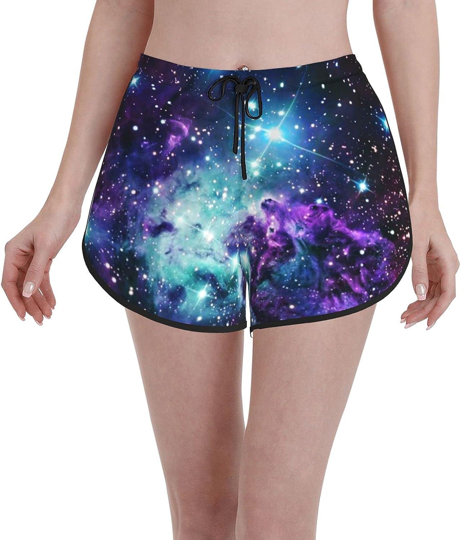 Minalo Women's Girl's Swim Trunks,Fur Purple Teal Galaxies,Beachwear Swimsuits Board Shorts Bathing Suits,M