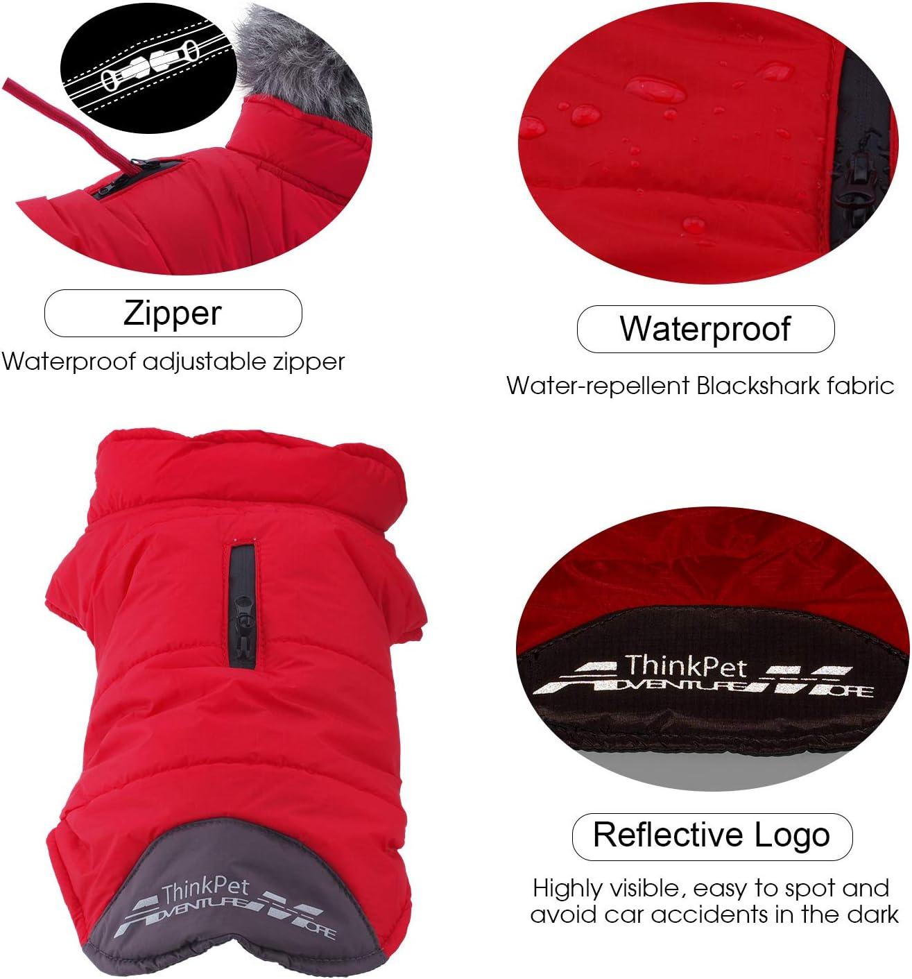 Warm Winter Dog Coat ThinkPet Heat-reflecting Waterproof Jacket Highly Visible Reflective Dog Vest S Orange