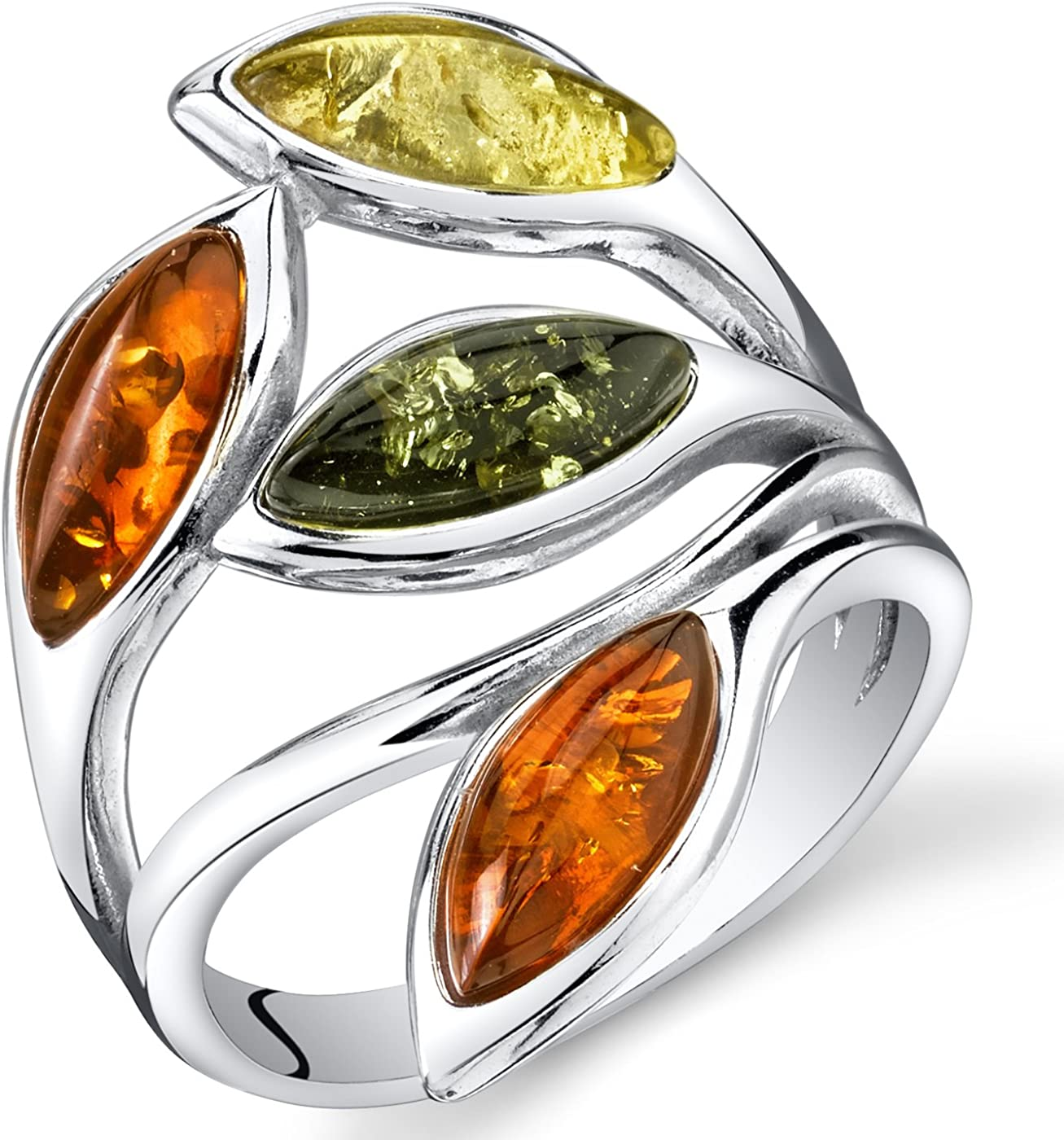 Very popular Baltic Amber Leaf Ring Sterling Honey Cognac Silver Olive Cherry security