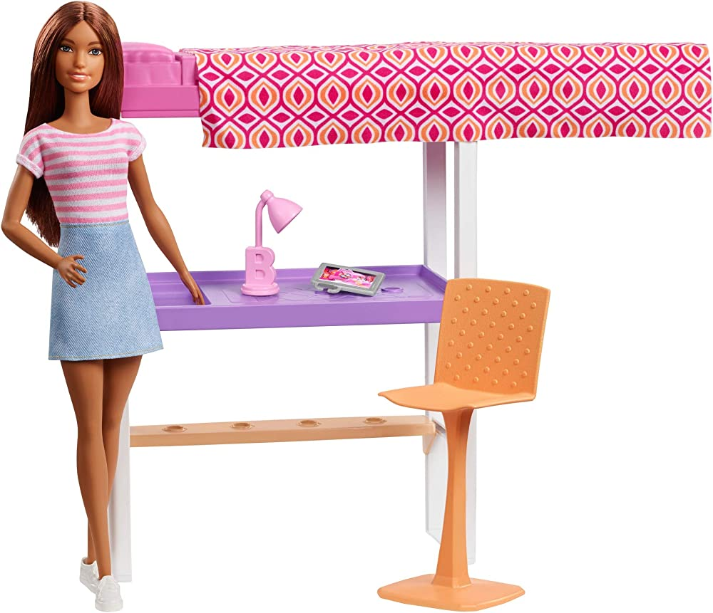 Barbie playset camera da letto, bambola brunette, con letto, scrivania e accessori FXG52