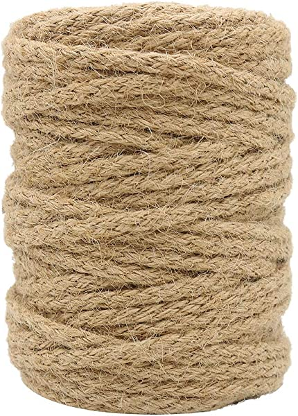 Tenn Well 5mm Jute Twine 100 Feet Braided Natural Jute Rope For Artworks And Crafts Macrame Projects Gardening Applications