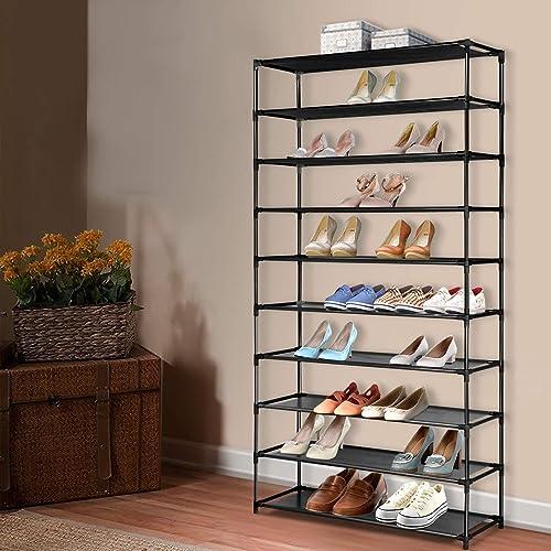Artiss 10-Tier 50 Pairs Stackable Shoe Rack Shelves Metal Fabric Shoe Storage Holder, Black