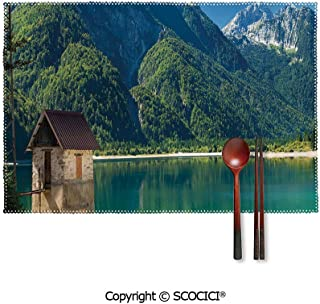 SCOCICI Colour Print Placemats,Predil Alpine Lake North Italy Slovenian Border Julian Alps Idyllic Scenery Decorative Placemats Dining Table,Heat-Resistant Placemats, Kitchen Table Mats,Sets 4