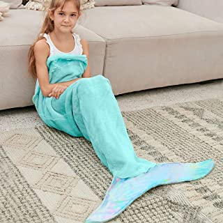 Bonzy Home Kids Mermaid Tail Blanket for Girls, Plush...