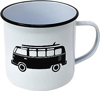 Enamel Mug by Modern Retro! Camping Mug in 8 Vintage Enamelware Designs – Fun Metal Coffee Mug and Durable Camping Cup - Tin Mugs for Coffee (or Whiskey) Home and Camp Cups with Nostalgia (KOMBI VAN)
