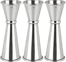 3PCS Double Jigger & Cocktail Jiggers Stainless Steel 1 Ounce X 2 Ounce Alcohol Measuring Tools