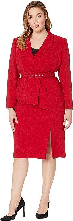 Plus Size Pebble Crepe Skirt Suit with Draped Jacket