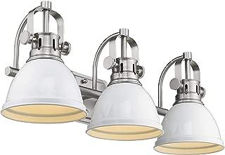 Emliviar 3-Light Bath Vanity Light Fixture, Bathroom Wall Lighting Fixtures, White Finish with Metal Shade, 4054B-A