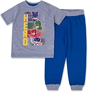 Boys PJ Masks Jogger Set - 1 PJ Masks T-Shirt & 1 PJ Masks Sweatpants - Catboy, Gecko & Owlette - 2 Piece Set