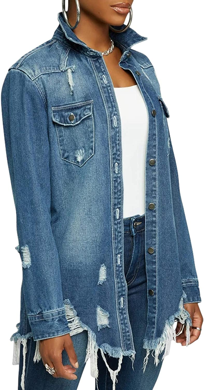 loveimgs Women's Casual Streetwear Long Sleeve Boyfriend Fringed Ripped Denim Shirt Jacket