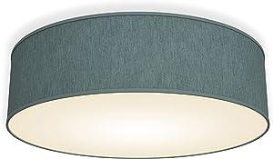 Lámpara de techo moderna con pantalla textil Ø 40cm, Lampara LED con 3 llamas, Luz de techo de tela E14, Pantalla de Algodón gris