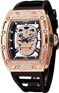 Unique Men's Skull Watches, Rectangle Skeleton Dial Sports Quartz Analog Mens Wrist Watches,Cool Diamond Big Face Skull Wa...