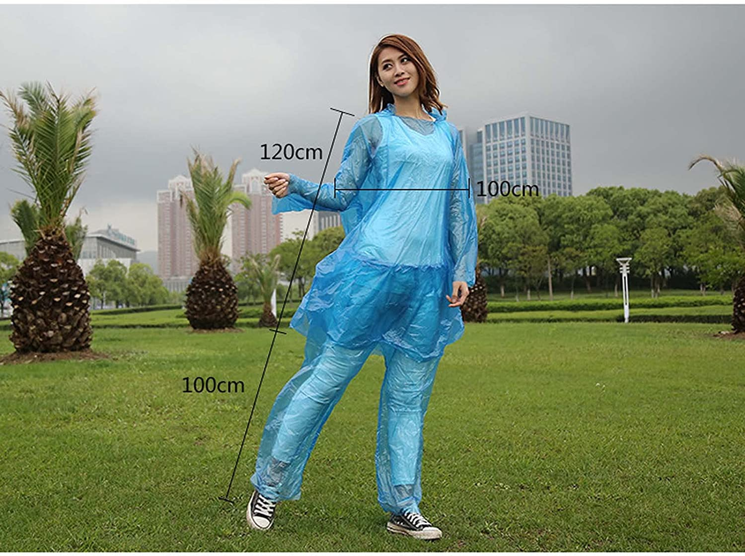 FHGH 2PCS Transparent Split Raincoat, PE Thicken Disposable Hooded Rainsuit, Unisex, for Cycling/Camping/Hiking,Blue,Medium