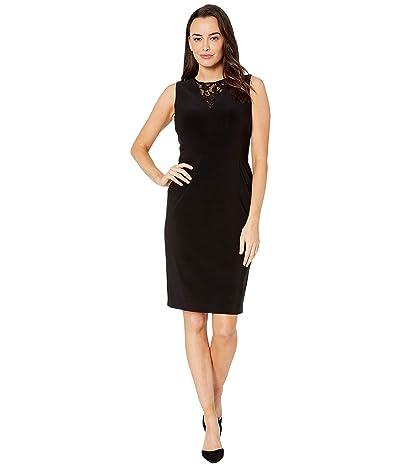 LAUREN Ralph Lauren Bonded Matte Jersey-Dress w/ Combo (Black) Women