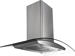 Ancona IGCP430 Island-Mounted Glass Canopy Style Convertible Range Hood, 30-Inch, Stainless Steel