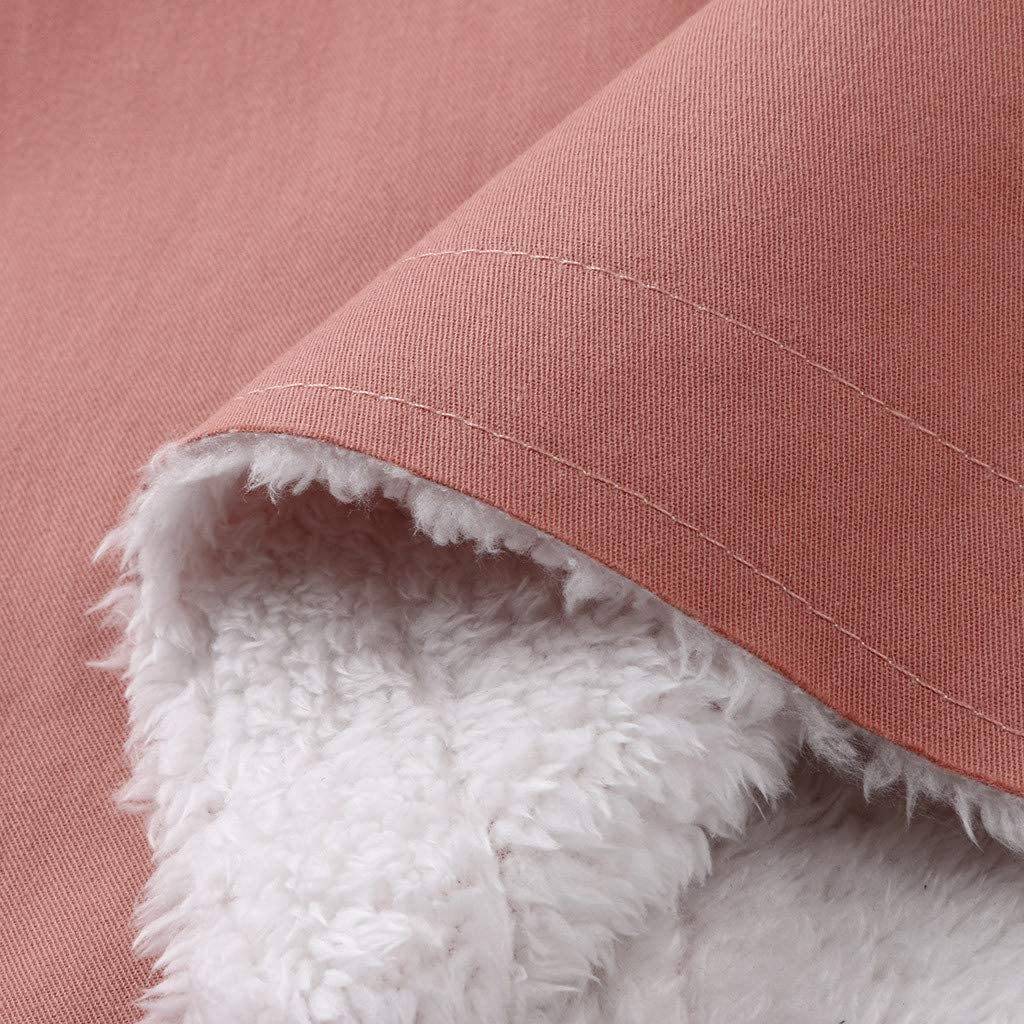 QIMANZI Mantel Damen Winterjacke Warm Verdicken Mit Plüsch Wintermantel Lange Reversknöpfe Daunenjacke Jacke Outwear Winter Warm Trenchcoat mit Tasche Rosa