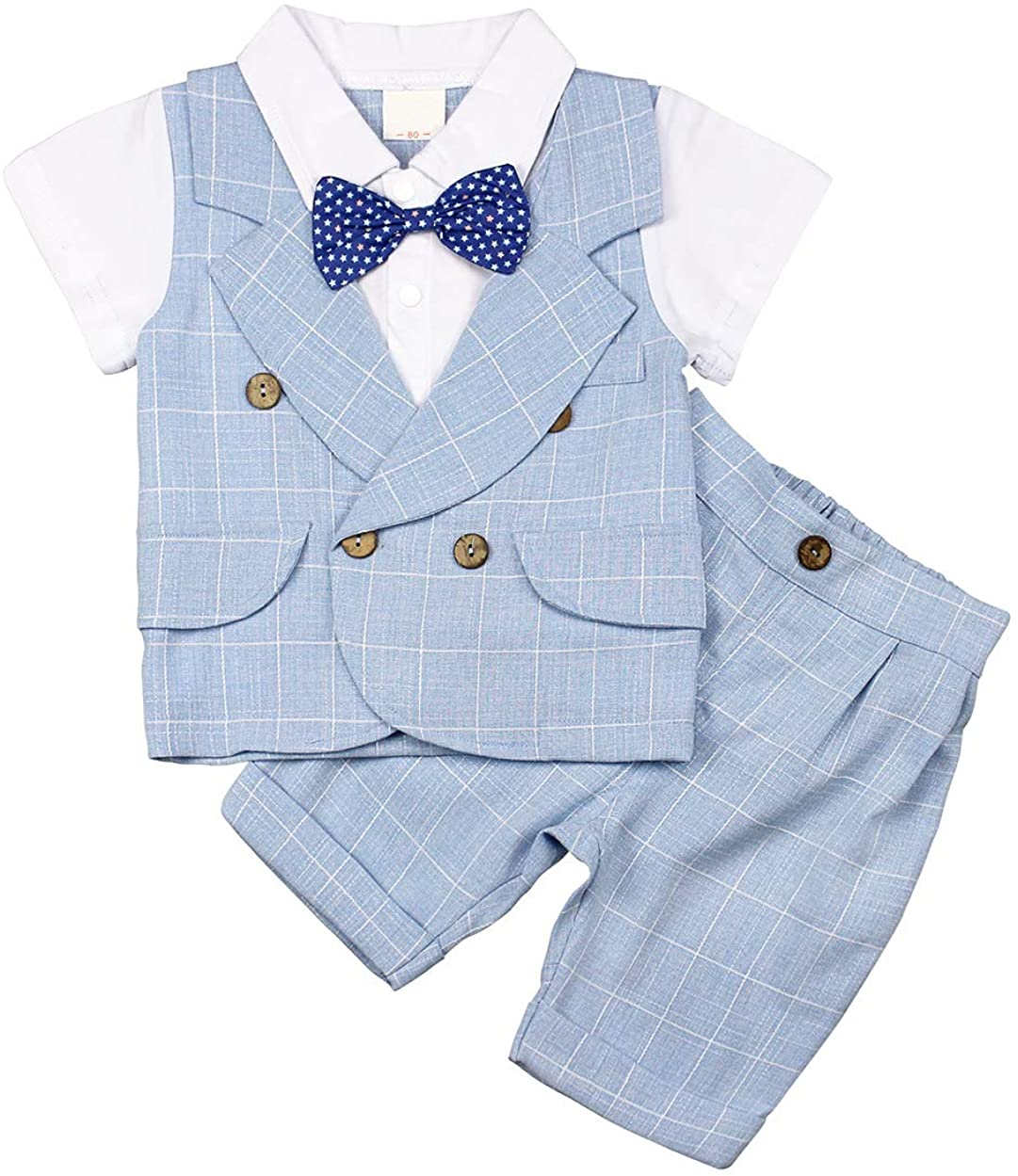 AmzBarley Bebé Niño Caballeros Traje de Esmoquin Formal Camisa de Vestir Vtuendo Infantil Chaleco Pantalones Bautizo Conjuntos para Fiesta Nocturna Boda Ropa Corbata de Moño