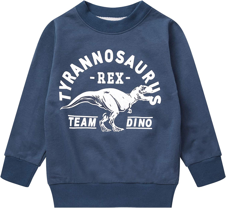 Boy Dinosaur Sweatshirts Toddler Long Sleeve Cotton Space Pullover Cartoon T-Shirts Sport Top Tee For Kids 2-7T