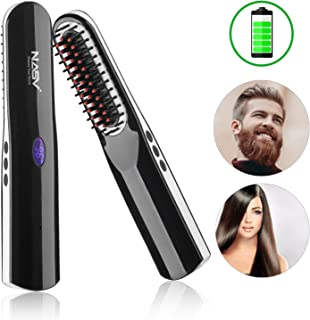 Beard Straightening Brush, 2 in 1 Cordless Ionic Hair Straightening Brush with Anti-Scald & Auto Shut Off Feature for Home & Travel, Multifunctional Hair Comb Curling Iron for Men Women