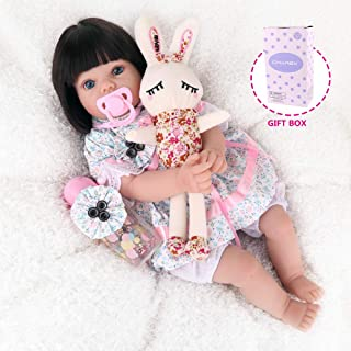 CHAREX Realistic Reborn Baby Dolls, 22Inch Lifelike Baby Dolls with Rabbit Toy, Silicone Toddler Dolls with Black Hair for Kids Age 3+