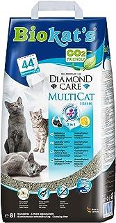 Biokat's Diamond Care Multicat Fresh, arena para gatos con fragancia – Arena aglomerante libre de polvo, con carbón activo y fragancia a flor de algodón – 1 bolsa de papel (1 x 8 l)