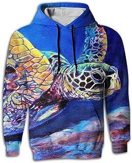 Yellow House Pullover Hooded Sweatshirt Kangaroo Pocket 3D Full Print Green Sea Turtles Heart For Mens Womens