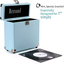 Retround Vintage Vinyl Record Storage, Retro Leather Carrying Case Only for 25+, 45rpm Records Albums (Dust/Scratch Free)-7Inch (Blue)