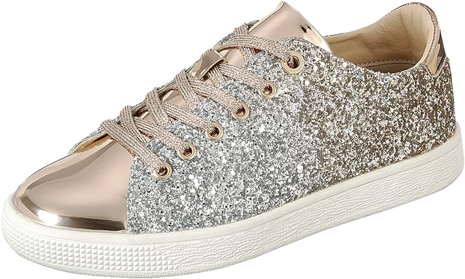 Cambridge Select Women's Lace-up Closed Round Toe Ombre Glitter Flatform Fashion Sneaker