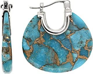 Blue Kingman Mohave Turquoise Sterling Silver Earrings